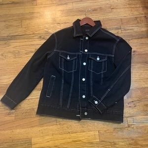 Misguided Black denim jacket with white contrast